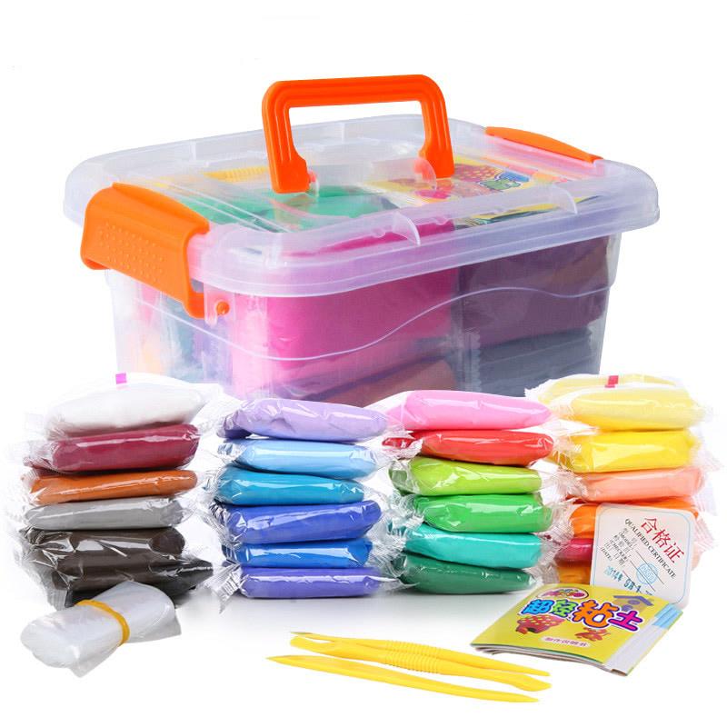 【付邮即享】24色粘土橡皮泥太空泥雪花泥黏土儿童玩具